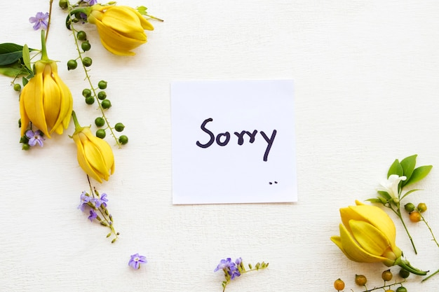 Sorry message card handwriting with flowers