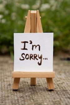 Sorry. sticker with i'm sorry inscription. mini chalckboard.