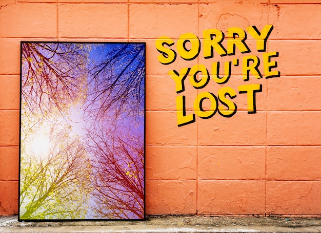 Sorry you're lost phrase with photo frame