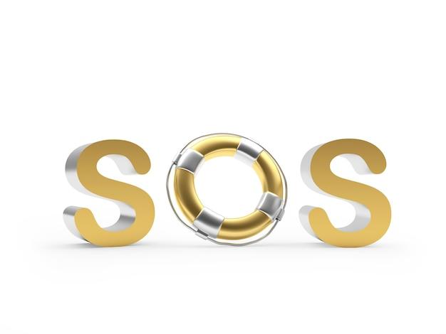 Знак сос с золотым спасательным кругом