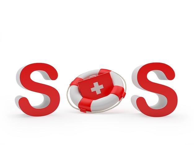 Знак sos с аптечкой в спасательном круге