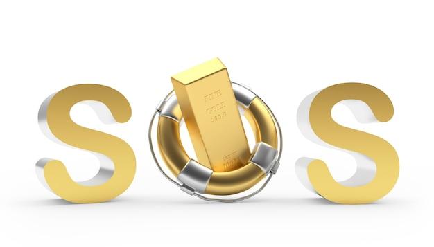 Знак sos с золотым слитком в спасательном круге