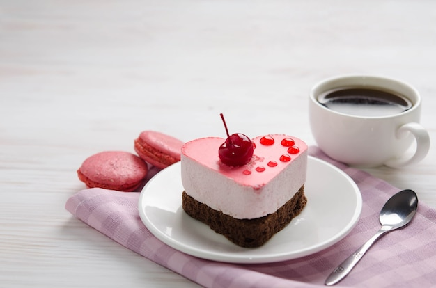 Souffle cake with cup of coffee
