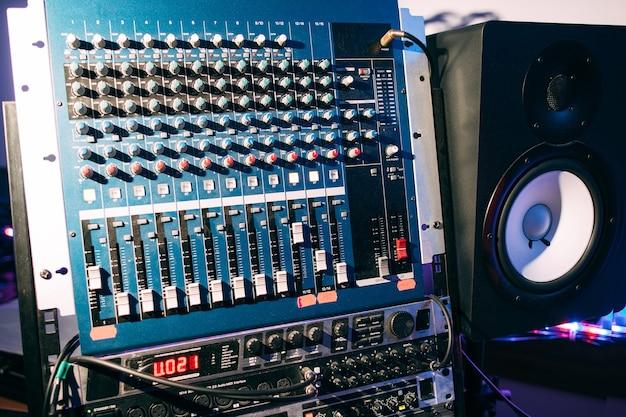 Sound audio controller. dj studio system.