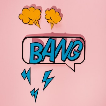 Sound effect bang icon speech bubble on pink background