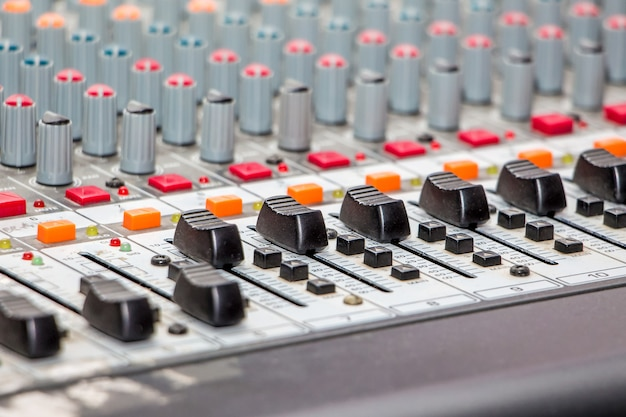 Sound  mixing and amplifying equipment in  studio