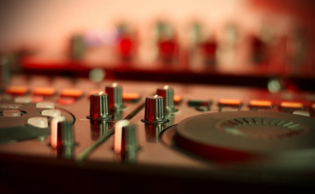 Sound mixing controller for hip hop dj to scratch records,mix live music tracks at night party.