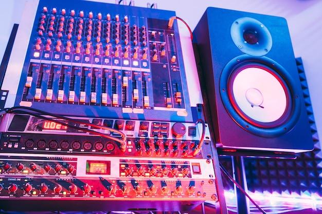 Sound producer audio controller. dj studio system.