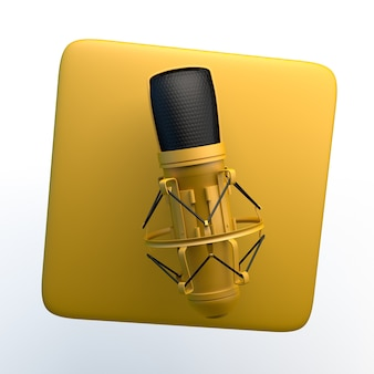 Sound recorder icon with microphone on isolated white background. 3d illustration. app.