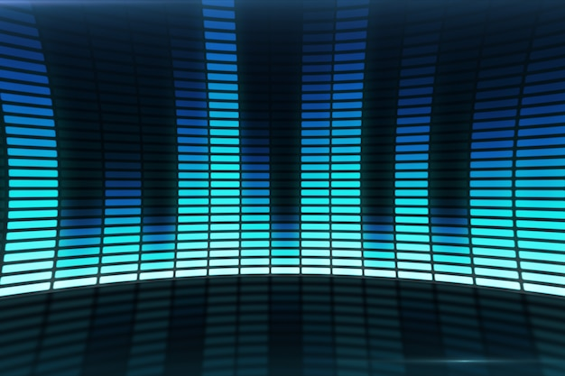 Sound wave of a blue music equalizer.
