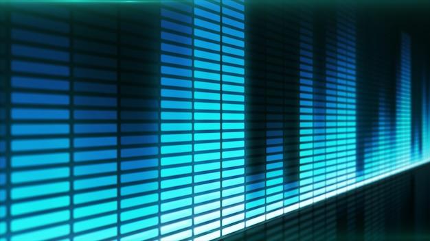 푸른 음악 이퀄라이저의 음파.