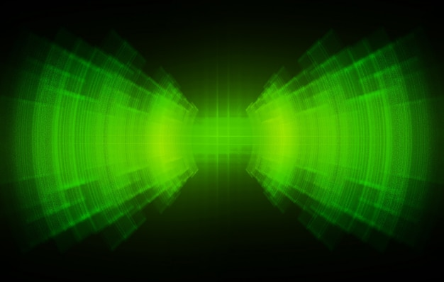 Sound waves oscillating dark green light
