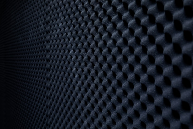 Soundproof wall in sound studio, background of sound absorbing sponge