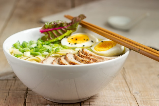 Soup ramen, a traditional dish of asian cuisine.