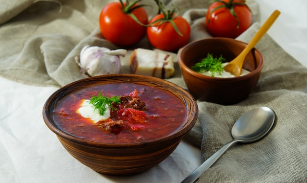 Soup russian, borsch with beef and sour cream