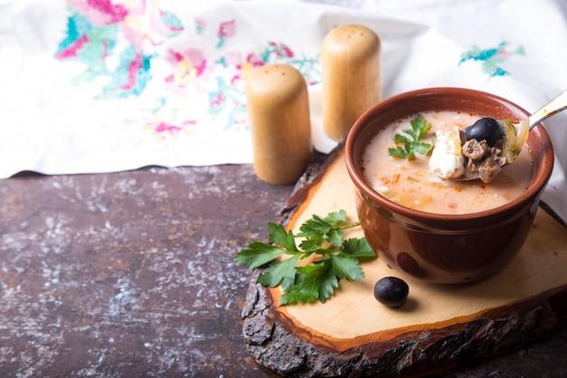 Soup solyanka. copyspace