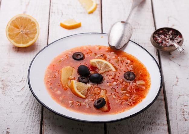 Soup solyanka,russian kitchen.