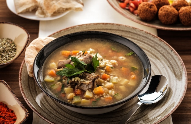 Soup with beef, chickpea and vegetables,