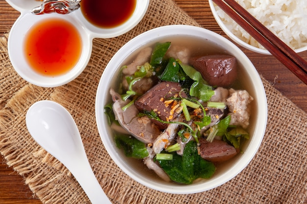 Soup with boiled with pork