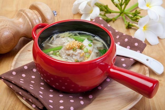 Soup with dumplings, wonton soup