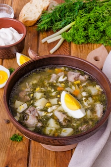 Soup with fresh herbs, vegetables and eggs. a traditional russian and ukrainian dish.