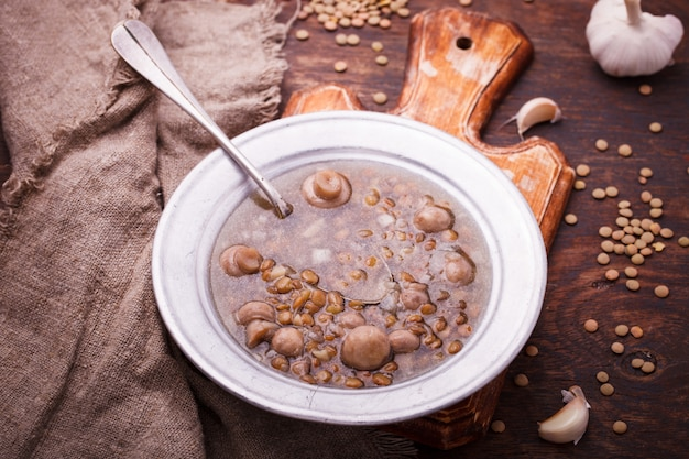 Soup with lentils and mushrooms