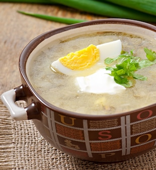 Soup with sorrel and egg