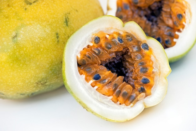 Sour passion fruit on white background