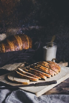 A sourdough bread cut in loaves