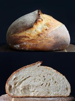 黒の背景に青い鍋のサワードウパン自家製パン食品写真高品質