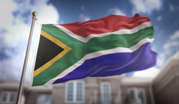 South africa flag 3d rendering on blue sky building background