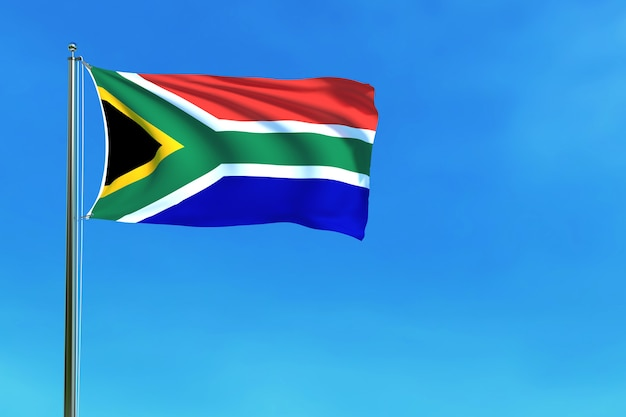South africa flag on the blue sky background