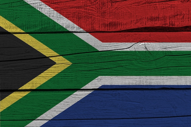 South africa flag painted on old wood plank