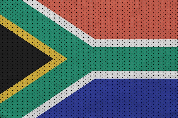South africa flag printed on a polyester nylon sportswear mesh fabric