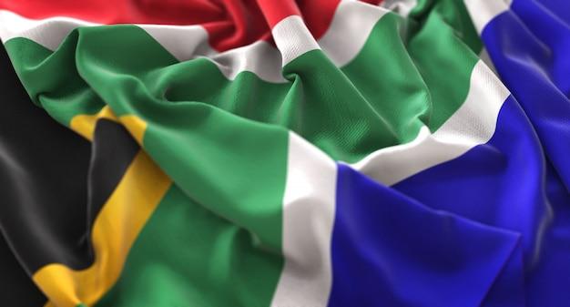 South africa flag ruffled beautifully waving macro close-up shot