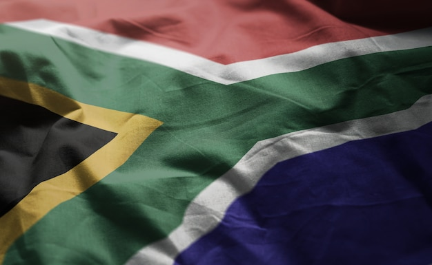 South africa flag rumpled close up