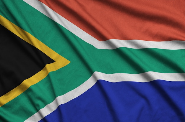 South africa flag with many folds.