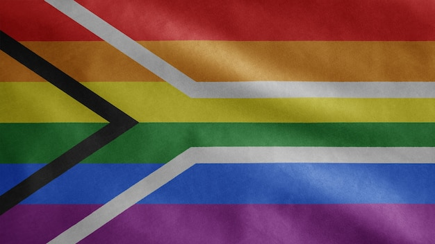 Флаг южной африки гей-прайда развевается на ветру. крупным планом баннер южноафриканского лгбт-сообщества, дующий из гладкого шелка