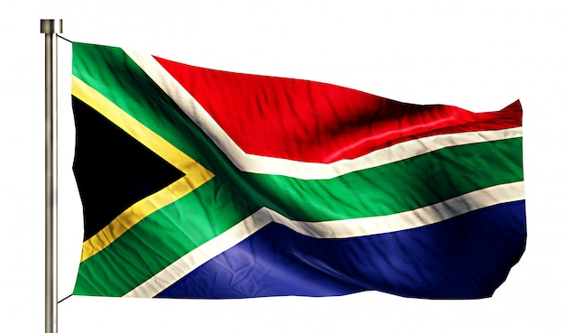South africa national flag isolated 3d white background