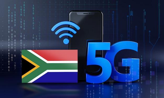 南アフリカは5g接続コンセプトの準備ができています。 3dレンダリングスマートフォン技術の背景