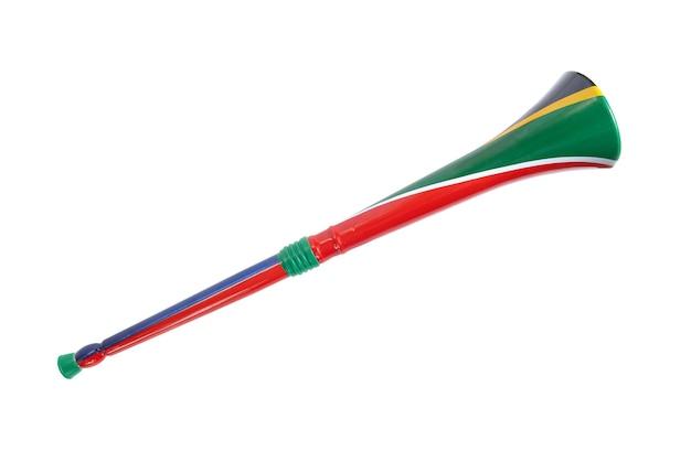 남아 프리 카 공화국 vuvuzela 흰색 배경에 고립