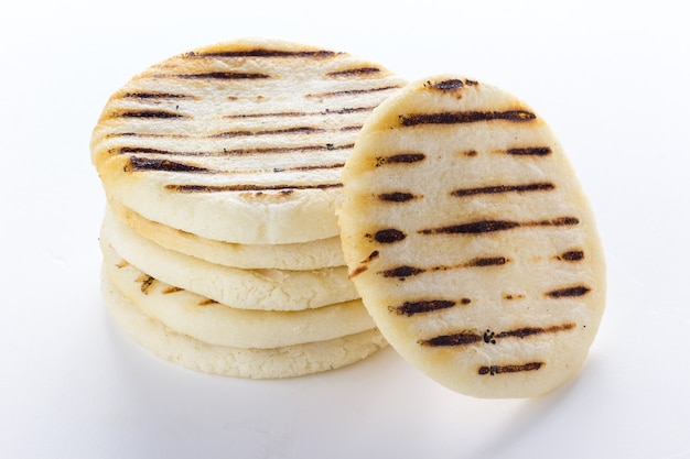 South american arepas on white background