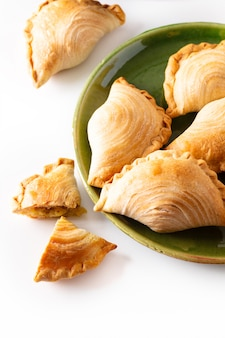 South east asia origin food concept homemade chicken curry puffs
