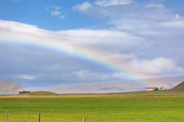 South icelandic landscape with rainbow