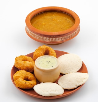 South indian popular breakfast idli, vada, sambar or chutney
