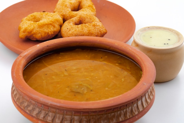 South indian popular breakfast vada, sambar or chutney