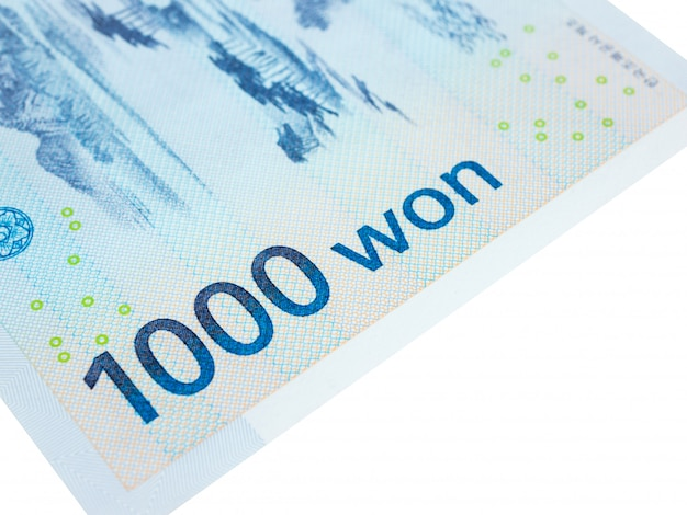 South korea 1000 won banknote currency close up macro, korean money