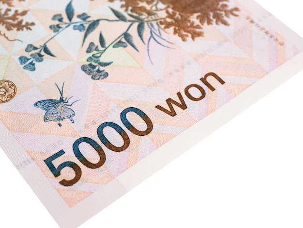 South korea 5000 won banknote currency close up macro, korean money