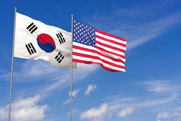 青い空を背景に韓国とアメリカの旗。 3dイラスト