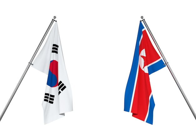Флаг южной кореи и флаг северной кореи